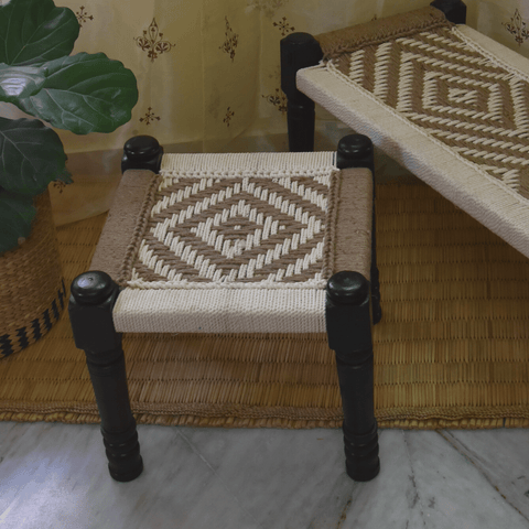 Wooden Charpai / Traditional Wooden Stool (Jute)