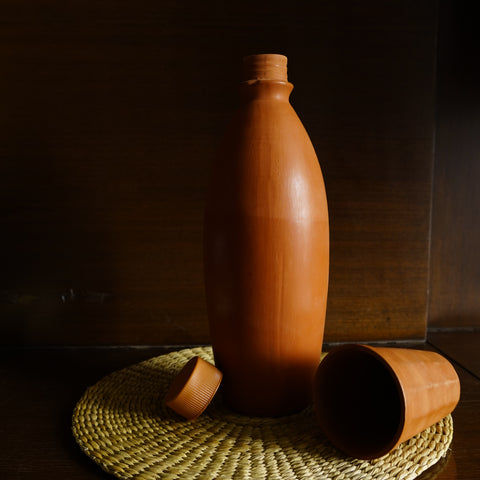 Earthenware Bottle with Water Glass - Kulture Street