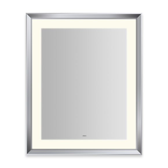 "Sculpt 27"" x 33"" x 2-5/16"" lighted mirror with chamfer museum frame in chrome, perimeter light pattern in 2700K color temperature (warm white), dimmable and defogger, tested and certified to California Title 24 standards and meets JA8 2016 requirements"