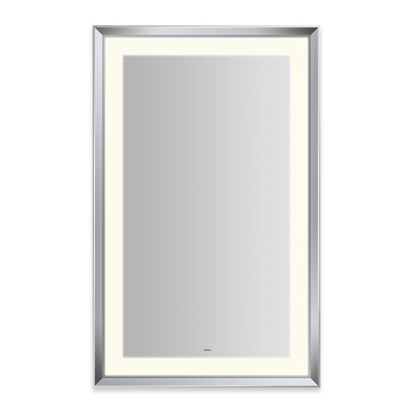 "Sculpt 27"" x 43"" x 2-5/16"" lighted mirror with chamfer museum frame in chrome, perimeter light pattern in 2700K color temperature (warm white), dimmable and defogger, tested and certified to California Title 24 standards and meets JA8 2016 requirements"