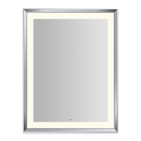 "Sculpt 33"" x 43"" x 2-5/16"" lighted mirror with chamfer museum frame in chrome, perimeter light pattern in 2700K color temperature (warm white), dimmable and defogger, tested and certified to California Title 24 standards and meets JA8 2016 requirements"