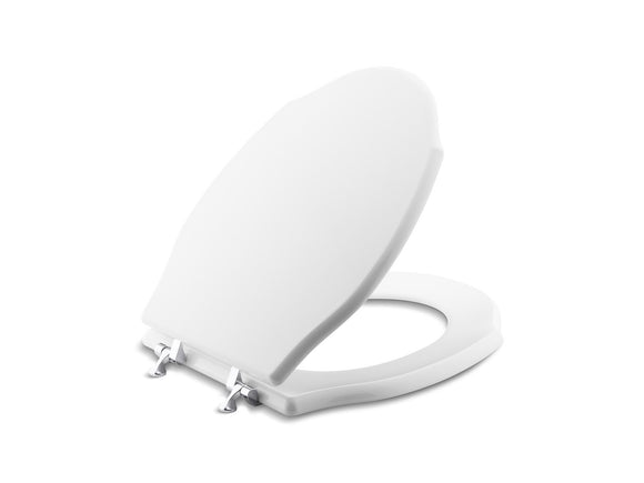 Kallista P70053-AG-0 Hampstead Colored Wood Toilet Seat, Elongated, with Brushed Nickel Trim