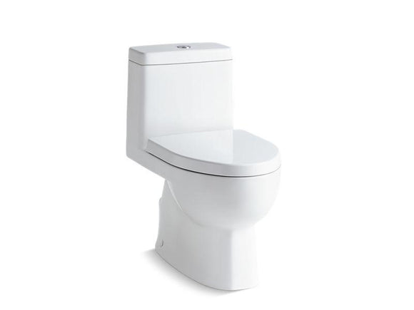 KOHLER 3983-S-0 Reach One-Piece Compact Elongated Dual-Flush Toilet With Slow-Close Seat in White