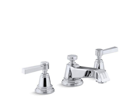 KOHLER 13132-4B-CP Pinstripe Widespread Bathroom Sink Faucet With Lever Handles in Polished Chrome
