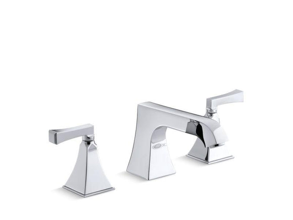 KOHLER T469-4V-CP Memoirs Stately Deck-Mount High-Flow Bath Faucet Trim With Non-Diverter Spout And Deco Lever Handles, Valve Not Included in Polished Chrome