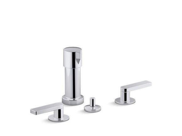 KOHLER 73077-4-CP Composed Widespread Bidet Faucet With Lever Handles in Polished Chrome