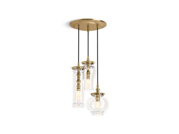 KOHLER 23341-PE03-BGL Damask Three-Light Pendant Cloud in Moderne Brushed Gold