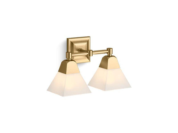 KOHLER 23687-BA02-BGL Memoirs Two-Light Sconce in Moderne Brushed Gold