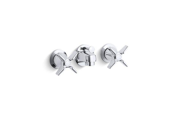 KOHLER 8040-3A-CP Triton Shelf-Back Commercial Bathroom Sink Faucet With Pop-Up Drain And Cross Handles in Polished Chrome