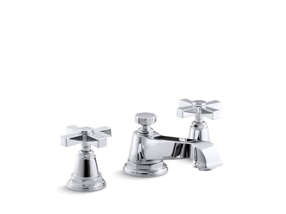 KOHLER 13132-3A-CP Pinstripe Pure Widespread Bathroom Sink Faucet With Cross Handles in Polished Chrome