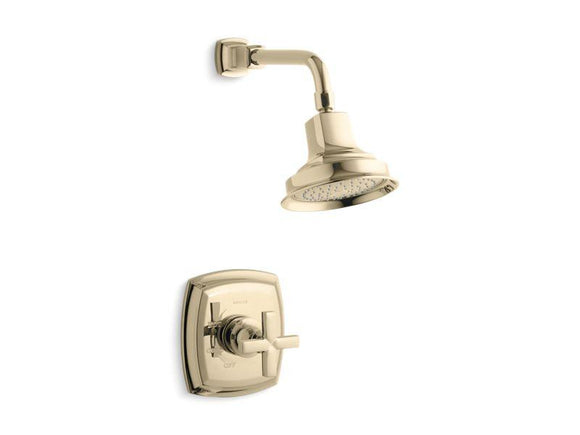 KOHLER TS16234-3-AF Margaux Rite-Temp Shower Valve Trim With Cross Handle And 2.5 Gpm Showerhead in Vibrant French Gold