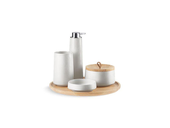 KOHLER 29590-HD1-0 Bente Five-Piece Accessory Set, Herringbone in Sartorial White Herringbone
