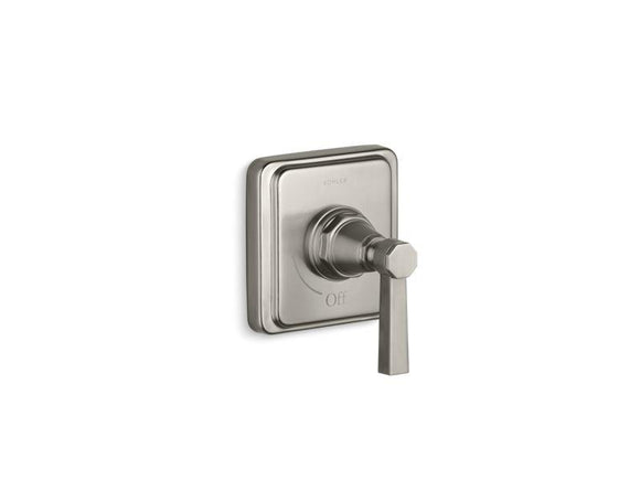 KOHLER T13174-4A-BN Pinstripe Valve Trim With Pure Design Lever Handle For Volume Control Valve, Requires Valve in Vibrant Brushed Nickel