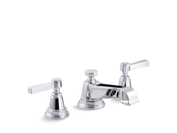 KOHLER 13132-4A-CP Pinstripe Pure Widespread Bathroom Sink Faucet With Lever Handles in Polished Chrome