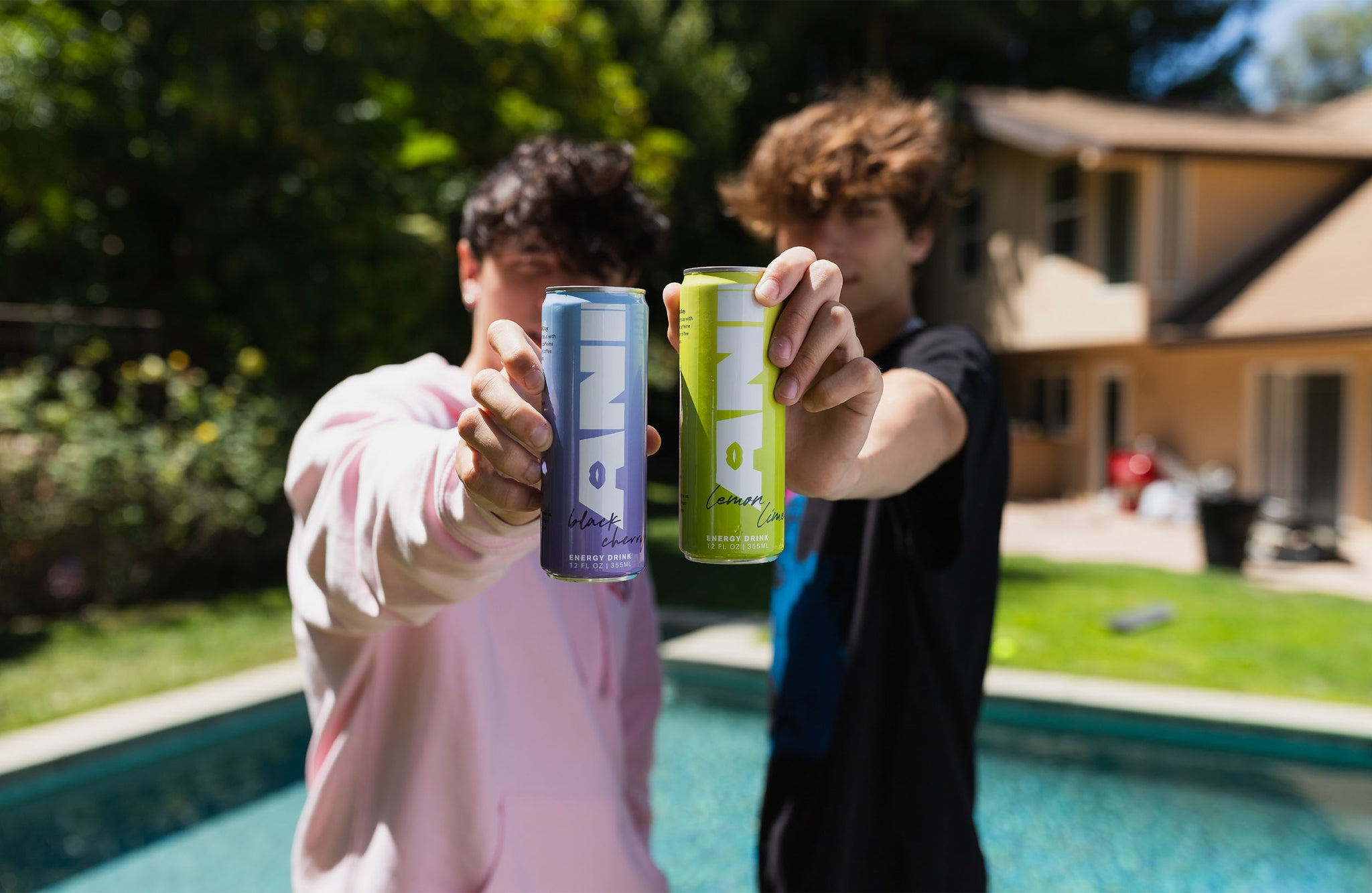 Josh and Bryce drinking Ani Energy