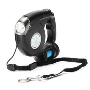 LED Flashlight Retractable Dog Leash /w Garbage Bag - Marys Little Mart