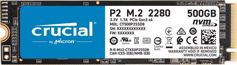 Crucial P2 500GB M.2 (2280) NVMe PCIe SSD