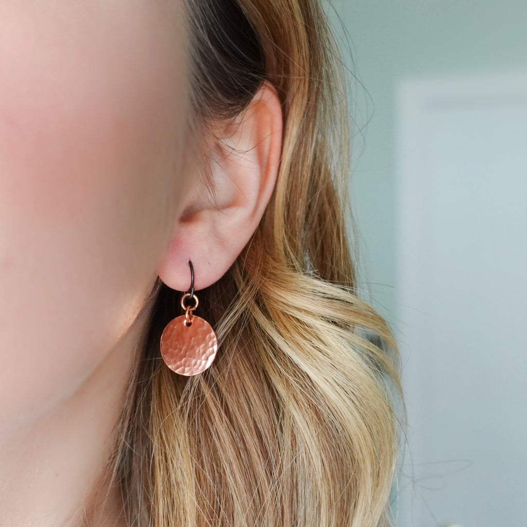Hand Hammered Copper Moon Earrings