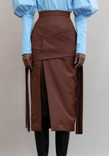 Load image into Gallery viewer, MMUSOMAXWELL CRISSCROSS LAYERED TIE SKIRT DARK BROWN