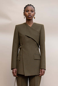 MMUSOMAXWELL WRAP TAILORED JACKET WOOL OLIVE