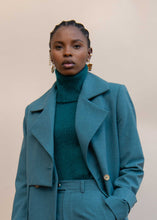 Load image into Gallery viewer, MMUSOMAXWELL LAYERED TRENCH COAT CADET BLUE WOOL BLEND