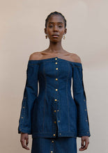Load image into Gallery viewer, MMUSOMAXWELL OFF SHOULDER DENIM TOP COTTON