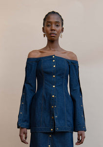 MMUSOMAXWELL OFF SHOULDER DENIM TOP COTTON