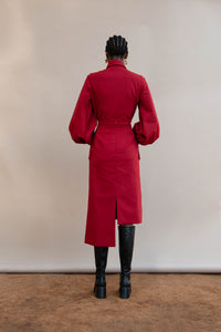 MMUSOMAXWELL ASYMETRICAL CURVE WOOL SKIRT RED