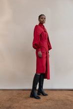 Load image into Gallery viewer, MMUSOMAXWELL ASYMETRICAL CURVE WOOL SKIRT RED