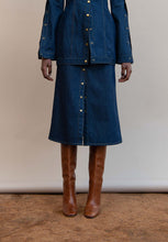 Load image into Gallery viewer, MMUSOMAXWELL A-LINE DENIM SKIRT COTTON
