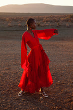 Load image into Gallery viewer, JUDITH ATELIER ADAH PLEATED GEORGETTE ASYMMETRICAL DRESS RED