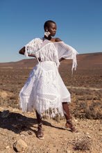 Load image into Gallery viewer, JUDITH ATELIER AMINA MOHAIR COTTON FRINGE DRESS