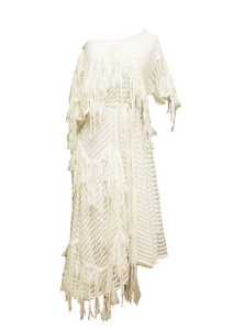 JUDITH ATELIER AMINA MOHAIR COTTON FRINGE DRESS
