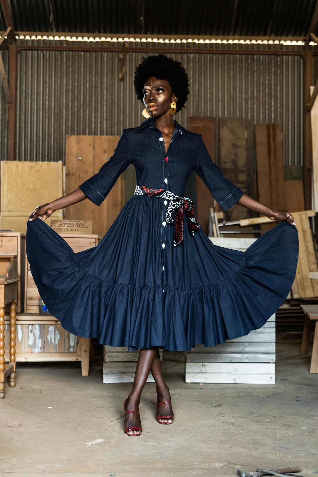EZOKHETHO ULUTHANDO DENIM SHIRT DRESS NAVY