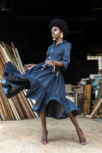 Load image into Gallery viewer, EZOKHETHO ULUTHANDO DENIM SHIRT DRESS NAVY