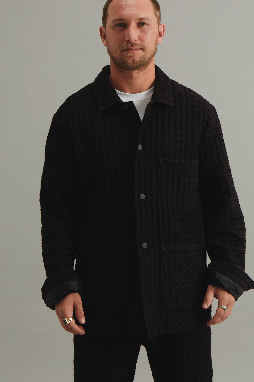 GOOD GOOD GOOD WORK WEAR JACKET - LATTICE WAFFLE BLACK