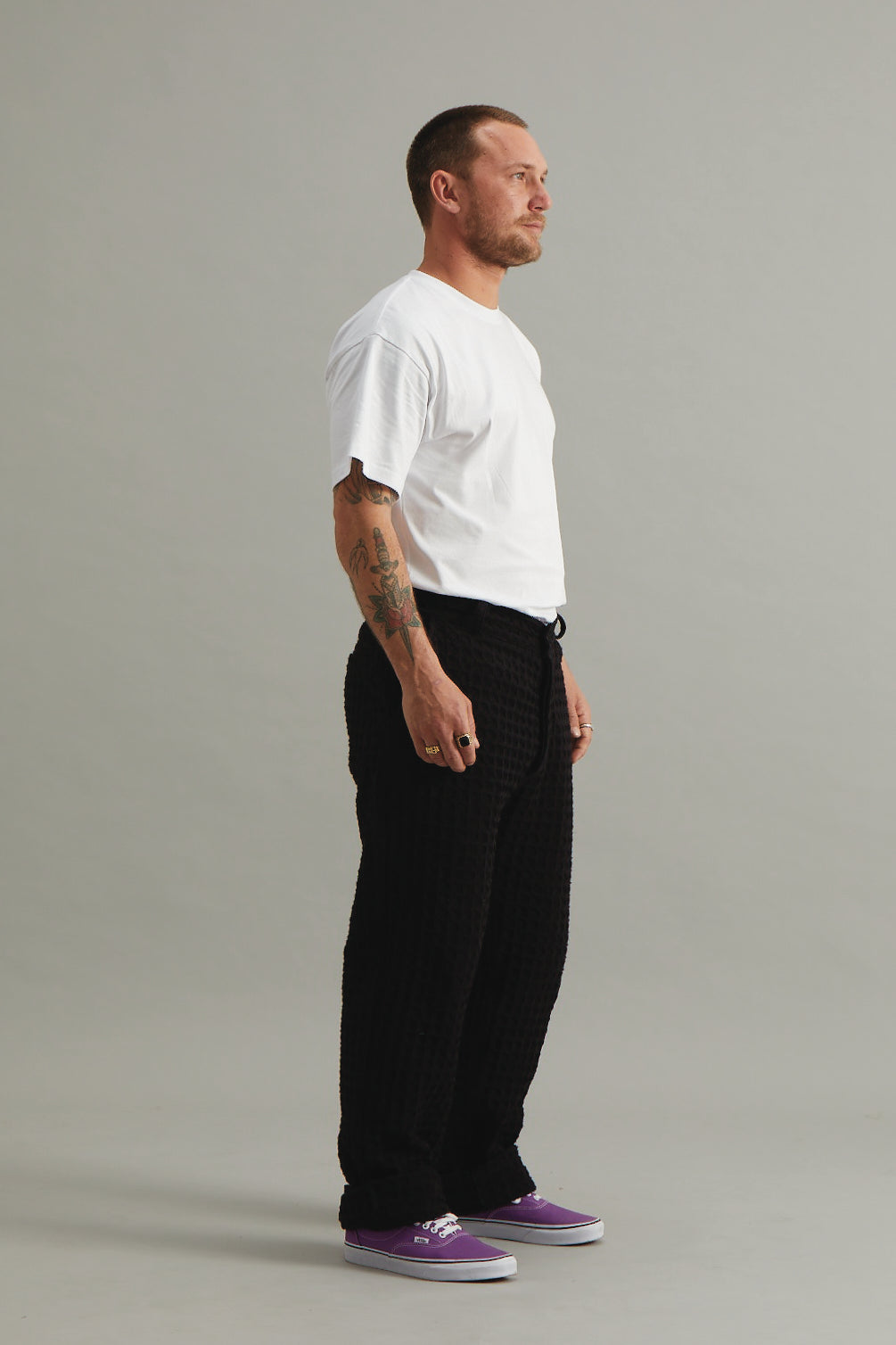 GOOD GOOD GOOD FULL LENGTH TROUSER - LATTICE WAFFLE BLACK
