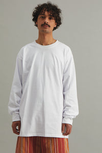 GOOD GOOD GOOD BOX T-SHIRT LONG SLEEVE  -  WHITE