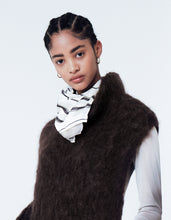 Load image into Gallery viewer, LUKHANYO MDINGI BRUSHED KNIT MOHAIR POLO-SCARF BROWN