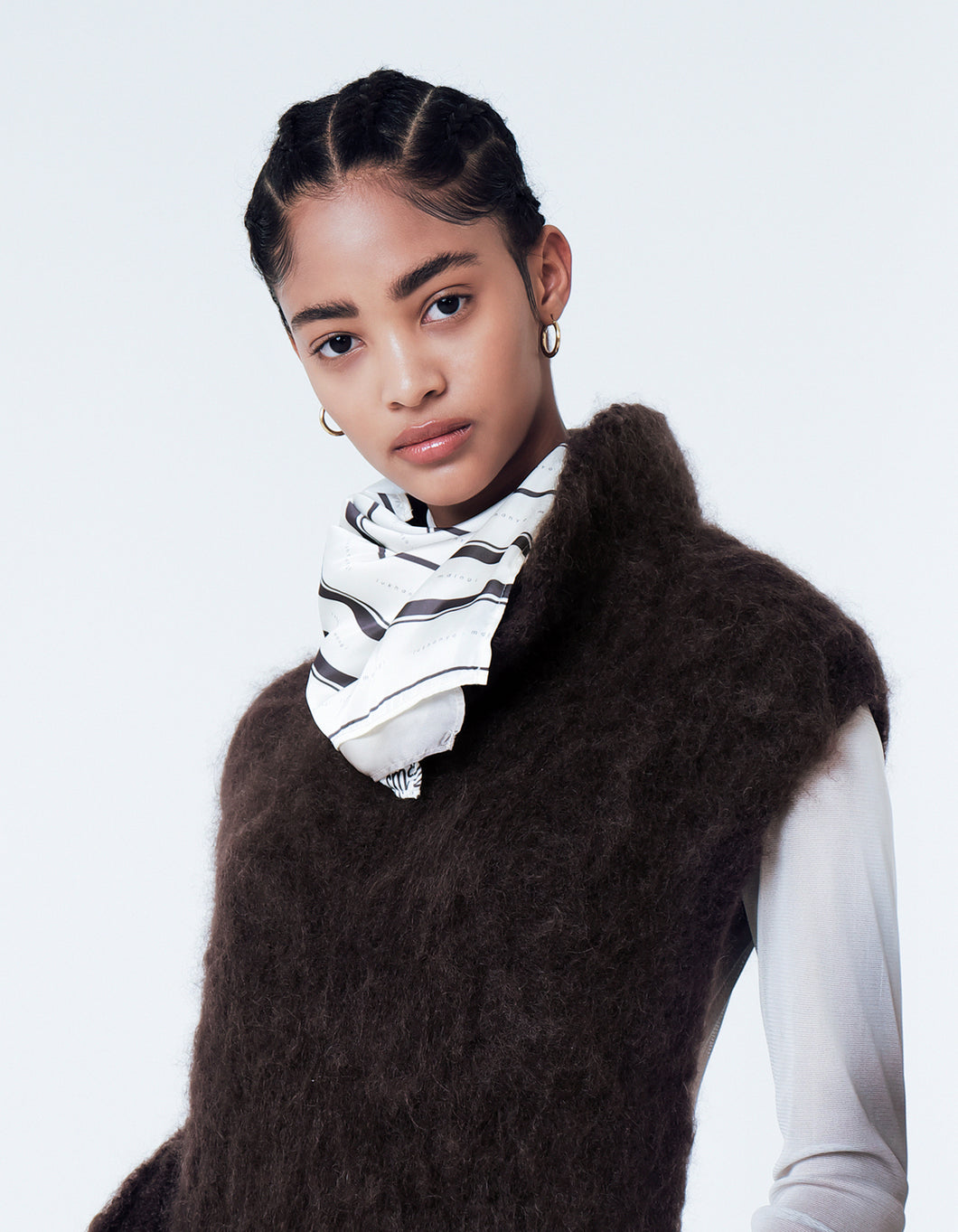 LUKHANYO MDINGI BRUSHED KNIT MOHAIR POLO-SCARF BROWN