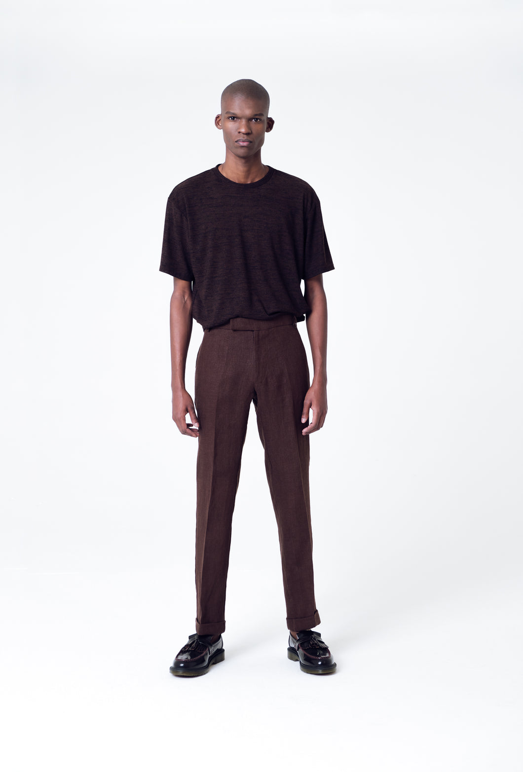 LUKHANYO MDINGI PIERRE LINEN TROUSERS BROWN