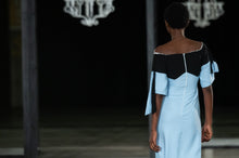 Load image into Gallery viewer, CINDY MFABE NELISIWE OFF SHOULDER TWO TONE DRESS BLUE