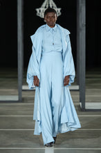 Load image into Gallery viewer, CINDY MFABE NOWAM BISHOP SLEEVE RUFFLE COAT BLUE