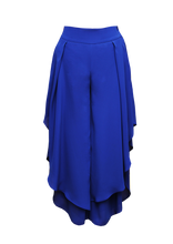 Load image into Gallery viewer, JUDITH ATELIER TALIA WIDE LEG GEORGETTE SKIRT TROUSERS BLUE