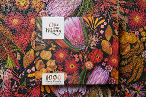 "Jigsaw Puzzle box on top of floral jigsaw puzzle ""Fire Season"" 1000 pieces"