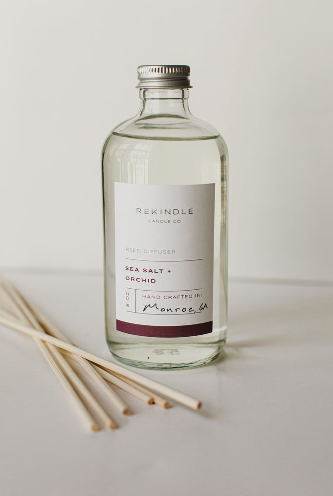 Load image into Gallery viewer, Sea Salt + Orchid 8oz Reed Diffuser