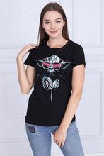 Load image into Gallery viewer, Black Dj Yoda Star Wars Printed Cotton Women T-shirt Tee Top Timya Wholesale S-Ponder