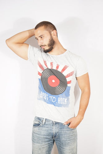 Light Grey FadedStone Washed Vinyl Rock & Roll Printed Cotton Men T-Shirt Tee Top Timya Wholesale S-Ponder