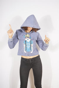 Blue Stone Washed Beardy Dog Printed Cotton Women Crop Top Hoodie