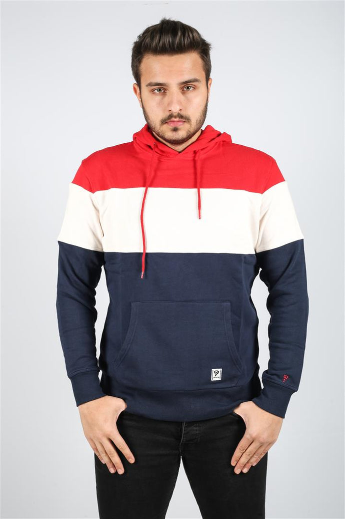 Red White Navy Stripped Cotton Hoodie Timya Wholesale S-Ponder